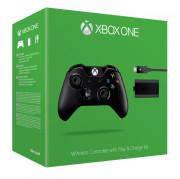 Xbox One bezdrôtový Ovládač (čierny) + Play and Charge Kit-nabíjačka Xbox One