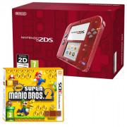 Nintendo 2DS (Priehľadný, red) + New Super Mario Bros. 2 3 DS