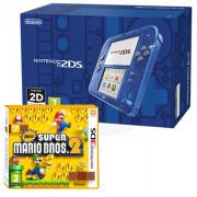 Nintendo 2DS (Priehľadný, blue) + New Super Mario Bros. 2 3 DS