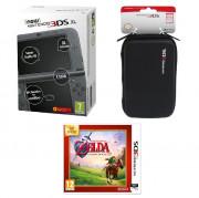 New Nintendo 3DS XL (Metallic Black) + The Legend of Zelda Ocarina of Time + 3DS XL Pouch 3 DS