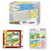 New Nintendo 3DS White + Yoshi's New Island + Cover Plate