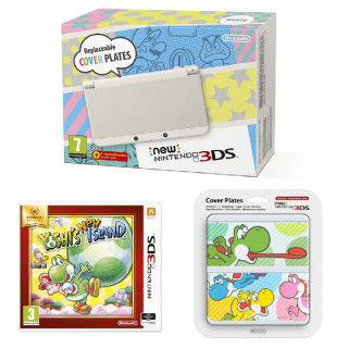 New Nintendo 3DS White + Yoshi's New Island + Cover Plate 3DS