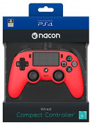 Playstation 4 (PS4) Nacon Wired Compact Ovládač (Red) PS4