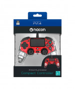 PlayStation 4 (PS4) Nacon Wired Compact Ovládač (červený) PS4