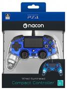 PlayStation 4 (PS4) Nacon Wired Compact káblový ovládač (Illuminated) (Blue)